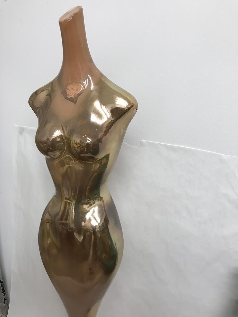 This is an amazing Full floor length mercury finish department store Mannequin from approximately 1950-1960. Extremely well constructed feminine figural sculpture/mannequin.