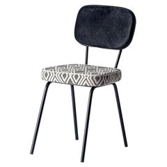 Vintage Design and MCM Style Black and White Fabric Chair