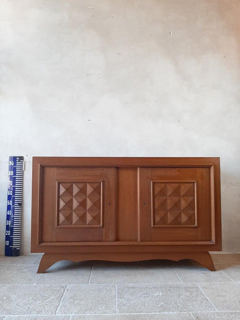 French Vintage Design Brutalist Midcentury Oak Sideboard, Credenza by Charles Dudouyt For Sale