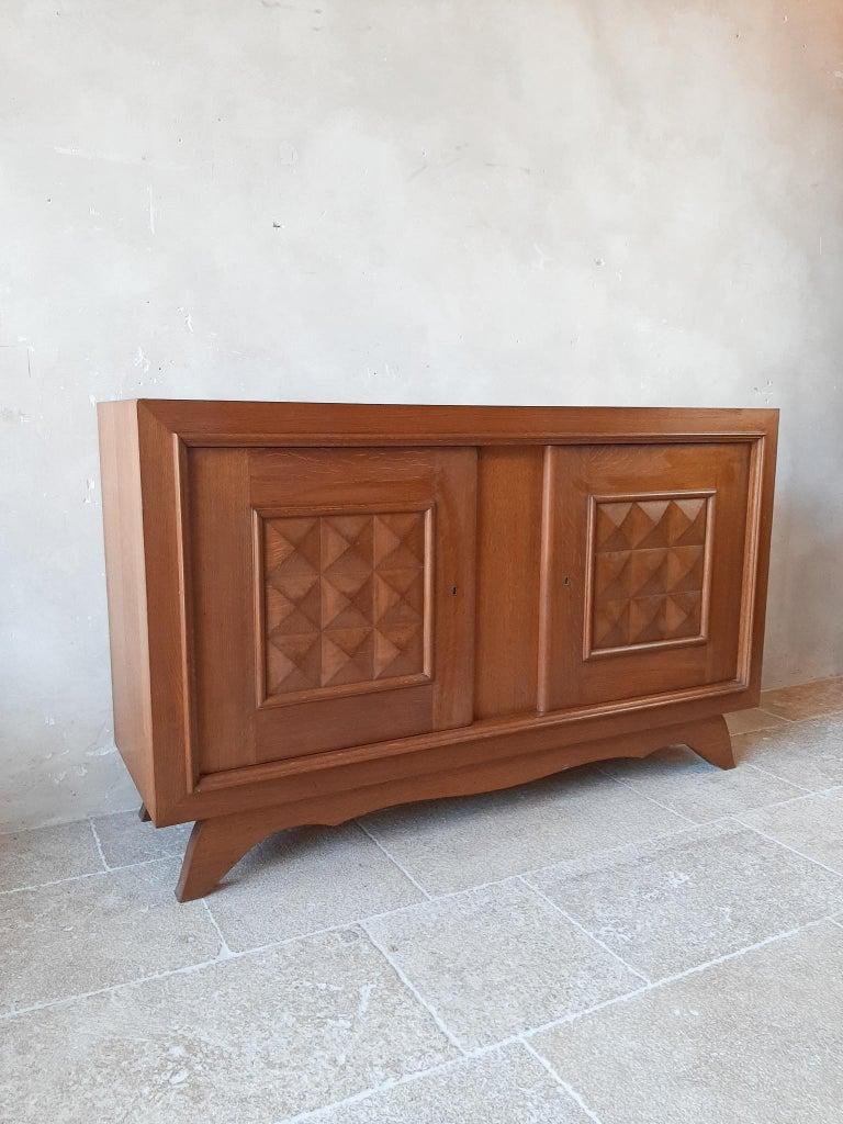 Polished Vintage Design Brutalist Midcentury Oak Sideboard, Credenza by Charles Dudouyt For Sale