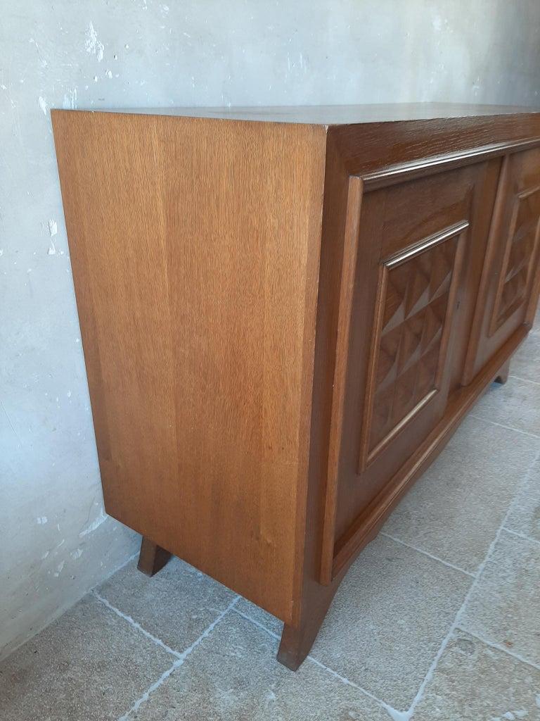 Mid-20th Century Vintage Design Brutalist Midcentury Oak Sideboard, Credenza by Charles Dudouyt For Sale