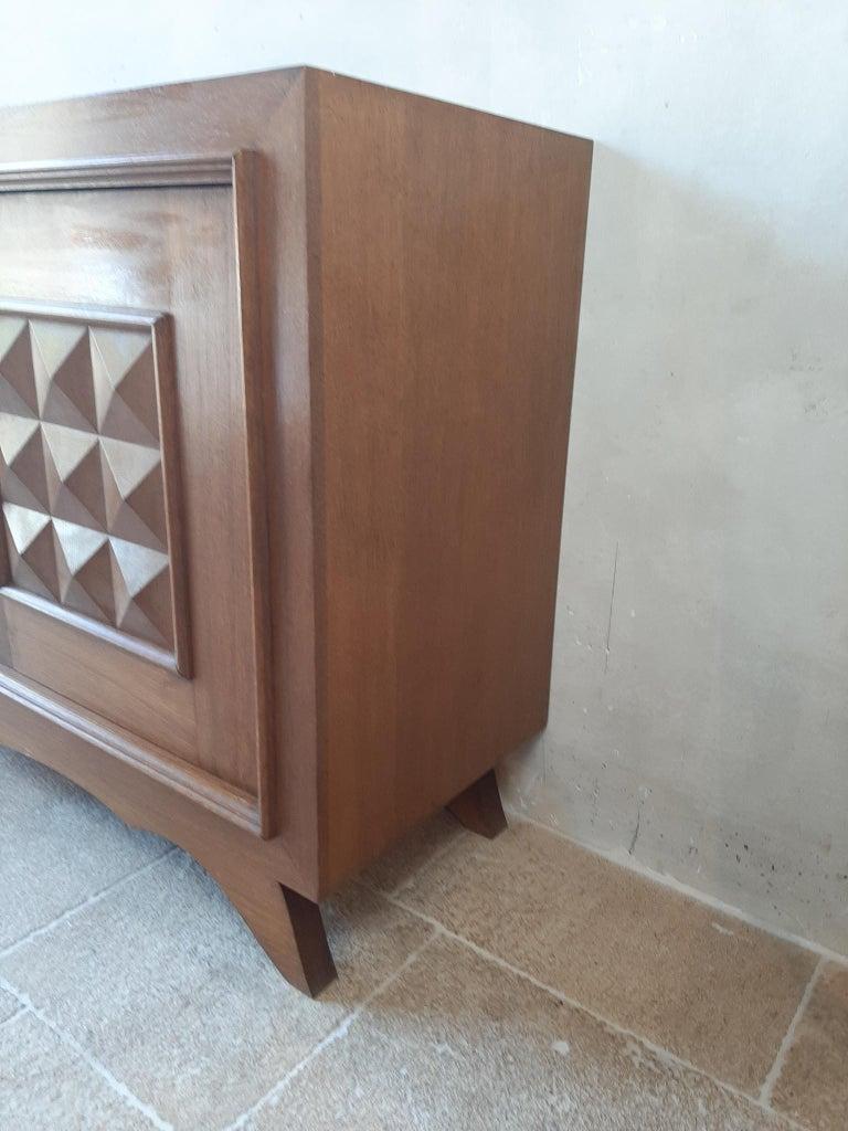 Vintage Design Brutalist Midcentury Oak Sideboard, Credenza by Charles Dudouyt For Sale 1