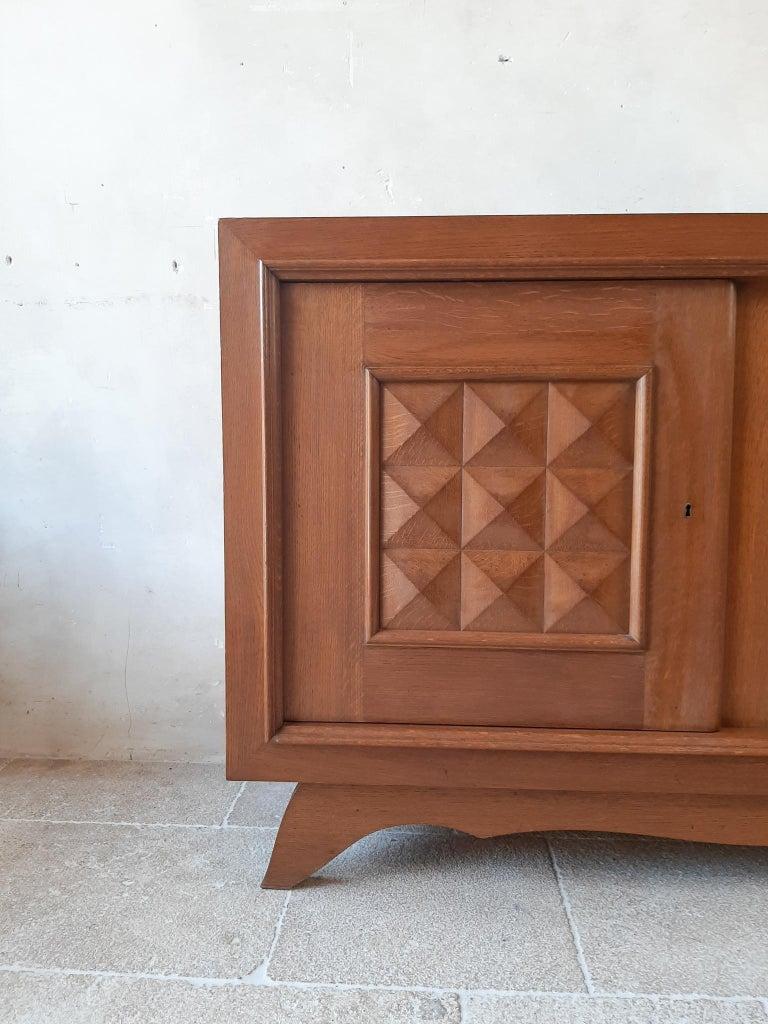 Vintage Design Brutalist Midcentury Oak Sideboard, Credenza by Charles Dudouyt For Sale 2