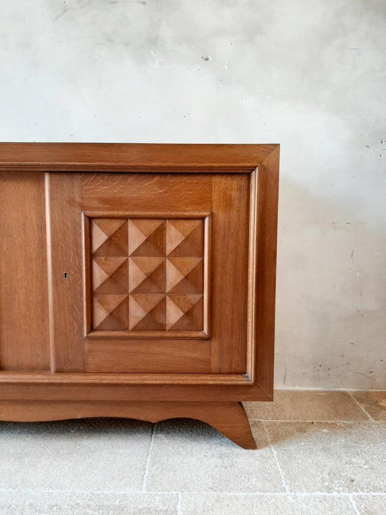Vintage Design Brutalist Midcentury Oak Sideboard, Credenza by Charles Dudouyt For Sale 3