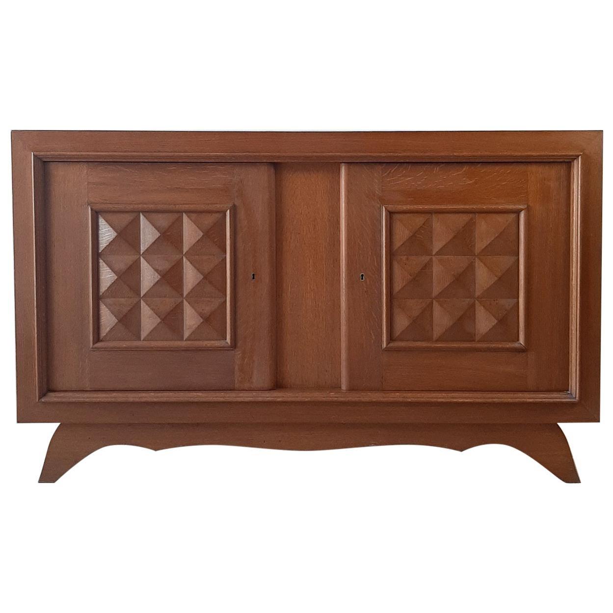 Vintage Design Brutalist Midcentury Oak Sideboard, Credenza by Charles Dudouyt