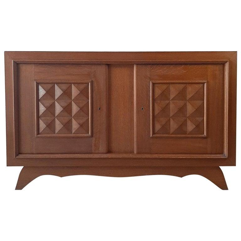 Vintage Design Brutalist Midcentury Oak Sideboard, Credenza by Charles Dudouyt For Sale