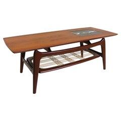 Vintage Design Coffee Table by Louis Van Teeffelen for Webe 1950 Teak Ceramic