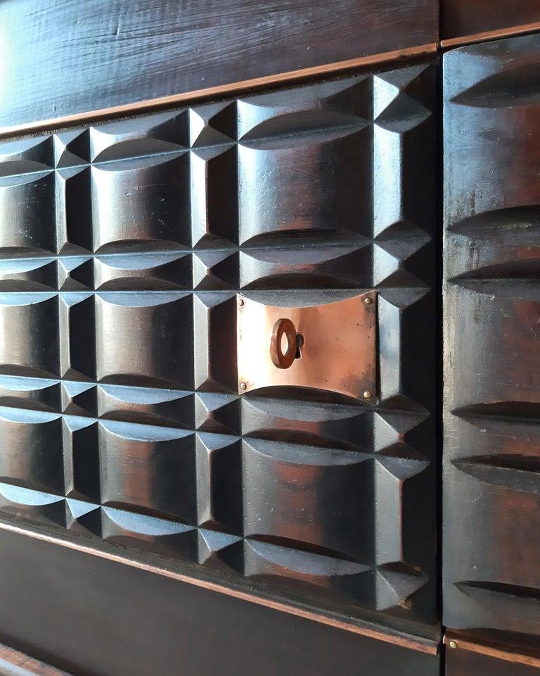 Vintage Design Sideboard by Charles Dudouyt in Dark Oak In Good Condition For Sale In Baambrugge, NL