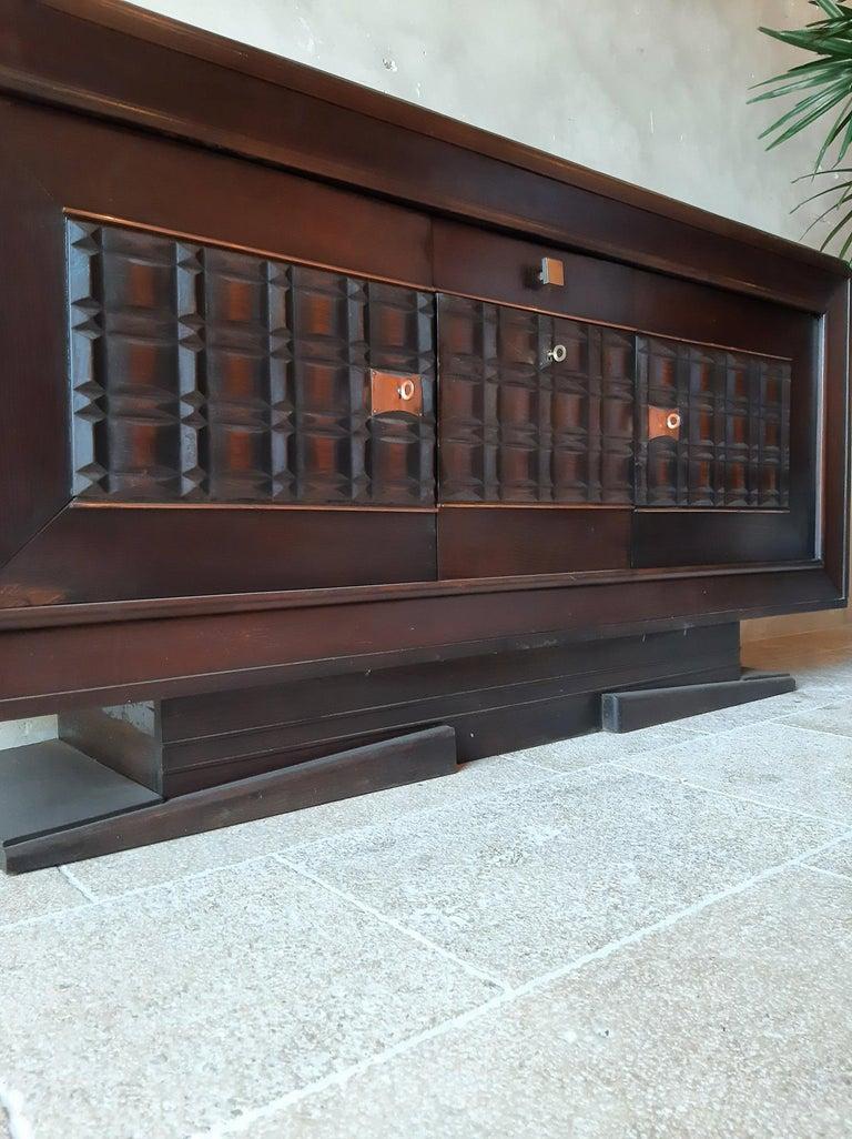 Vintage Design Sideboard by Charles Dudouyt in Dark Oak For Sale 1
