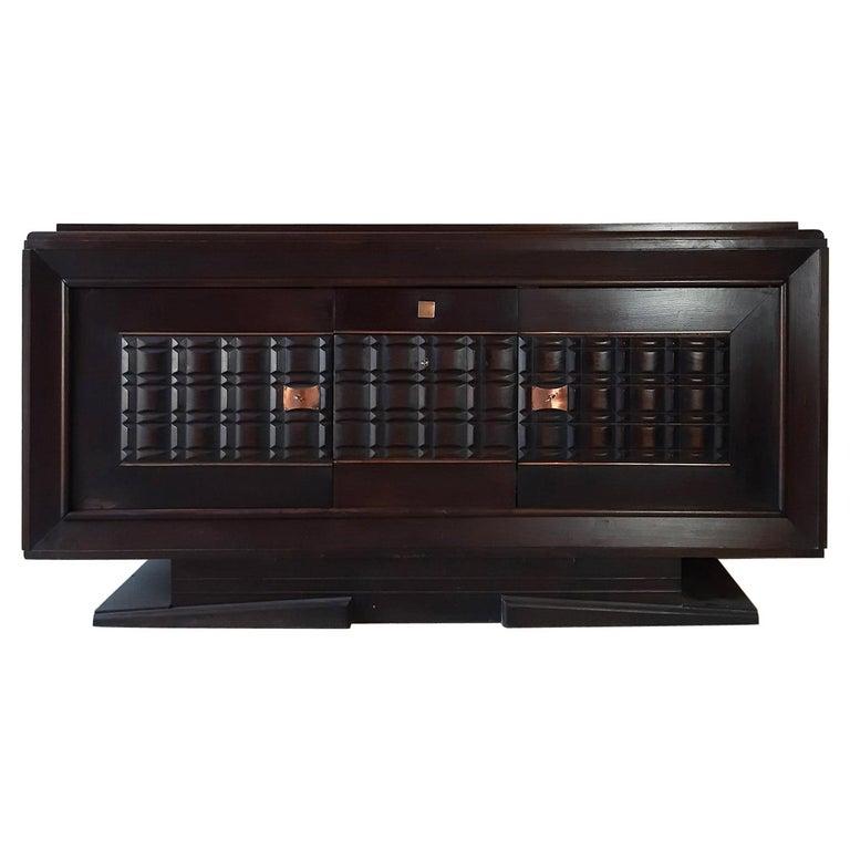 Vintage Design Sideboard by Charles Dudouyt in Dark Oak For Sale