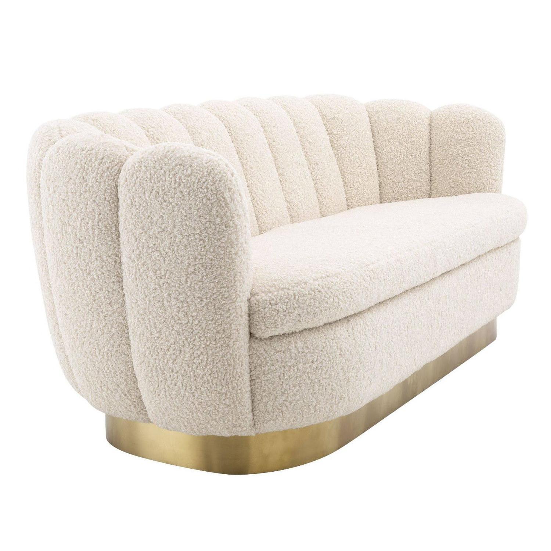 Vintage Design Style Bouclé Velvet Fabric and Brass Base Sofa