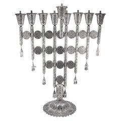 Designed Yemenite Israel Handmade Sterling Silver Menorah for Hanukkah