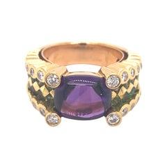 Vintage Designer Amethyst Tsavorite Diamond 18k Yellow Gold Ring