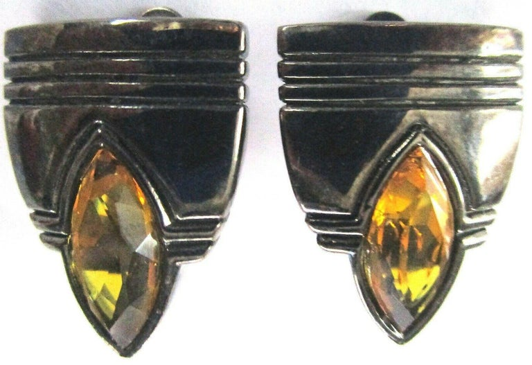 Modernist Vintage Designer Angela Kramer Marquis Crystal Amber Clip-on Earrings Estate For Sale