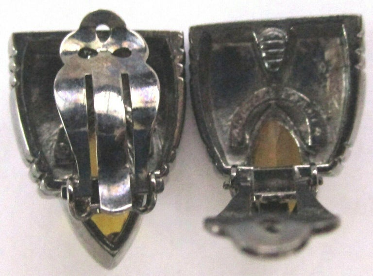 Marquise Cut Vintage Designer Angela Kramer Marquis Crystal Amber Clip-on Earrings Estate For Sale