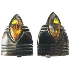 Vintage Designer Angela Kramer Marquis Crystal Amber Clip-on Earrings Estate
