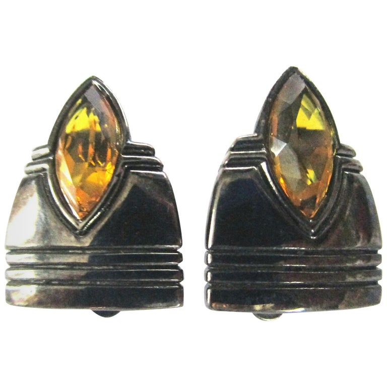 Vintage Designer Angela Kramer Marquis Crystal Amber Clip-on Earrings Estate For Sale