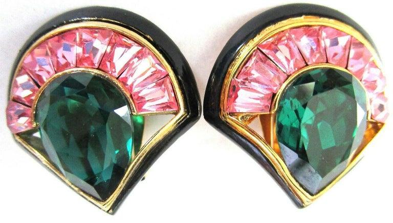 Modernist Vintage Designer Angela Kramer Pink Baguette and Green CZ Enamel Clip Earrings