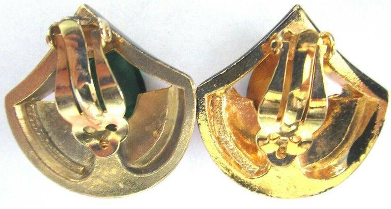 Vintage Designer Angela Kramer Pink Baguette and Green CZ Enamel Clip Earrings In Excellent Condition In Montreal, QC