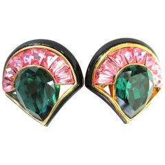 Vintage Designer Angela Kramer Pink Baguette and Green CZ Enamel Clip Earrings