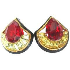Vintage Designer Angela Kramer Red and Yellow Baguette CZ Enamel Clip Earrings