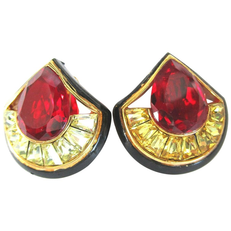 Vintage Designer Angela Kramer Red and Yellow Baguette CZ Enamel Clip Earrings