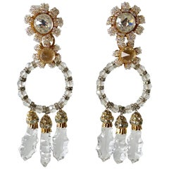 Vintage Designer Crystal Statement Earrings c.1960s