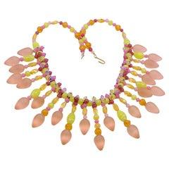 Vintage Designer Glass Necklace Pink Lime Color 1970s