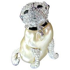 Vintage Designer Kenneth J Lane Faux Pearl Crystal Pug Dog Signed KJL Pin Brooch