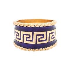 Vintage Designer MAZ Large Blue Enamel Cigar Ring in 14k Yellow Gold