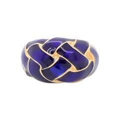 Vintage Designer MAZ Large Violet Enamel Weave Ring in 14k Yellow Gold