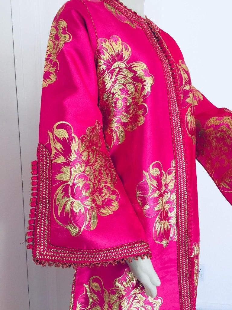 Moorish Vintage Designer Moroccan Caftan, Metallic Brocade Kaftan with Pink and Gold For Sale