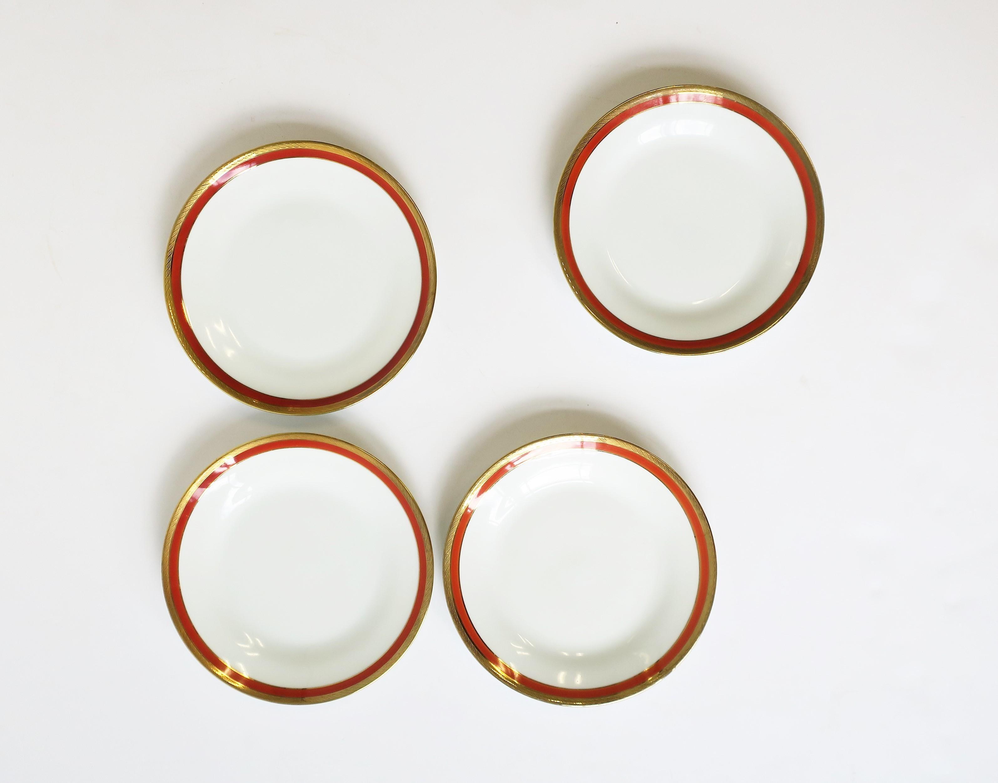 Vintage Porcelain Richard Ginori Italian White Gold and Orange Plates, Set of 4