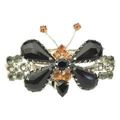 Vintage Designer SCHREINER Teardrop Jet and Crystal Butterfly Buckle Belt
