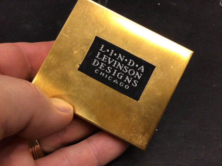 Modernist Vintage Designer Signed Linda Levinson Roman Coin Glass Medallion Golden Compact For Sale
