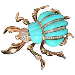 Vintage Designer Signed Turquoise Scarab Beetle Brooch Pin