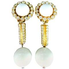 Vintage Designer Signed William Delillo Sparkling Crystal Dangle Clip Earrings