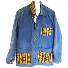 Vintage Designer Silk Embellished Blazer Jacket French Blue Distressed J Dauphin