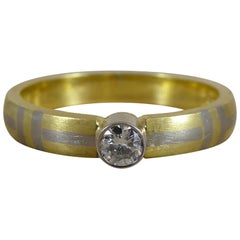 Vintage Designer Style Solitaire Diamond Ring in Yellow Gold and White Gold