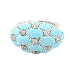 Vintage Designer Turquoise Diamonds Italian 18k White Gold Ring