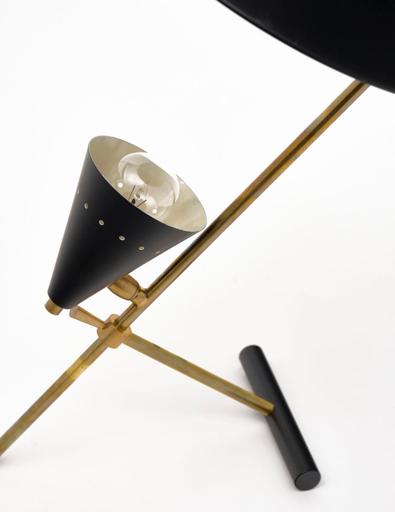"""Vintage desk lamp attributed to Stilnovo made of """"tole"""" and gilt brass. We love the iconic details of this Italian fixture. It has been newly wired to fit US standards."""