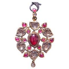 Vintage Detailed Ruby Diamond Gold Pendant