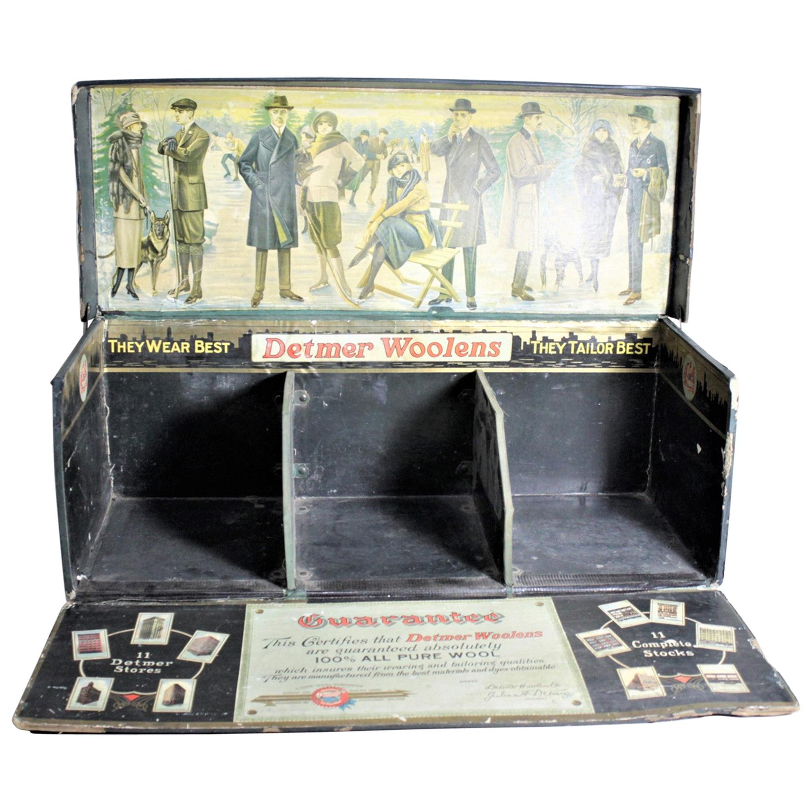 Vintage Detmer Woolens Advertising Store Display or Salesman's Sample Box