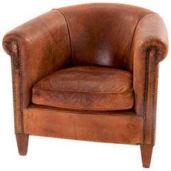 Vintage Deuch Leather Club Armchair, circa 1970