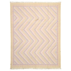 Vintage Dhurrie Area Rug with Pastel Colors and Coastal Bohemian Style