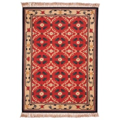 Vintage Dhurrie Style Rug Red and Beige Floral Pattern by Rug & Kilim