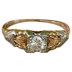 Vintage Diamond 14-18 Karat Yellow and White Gold Ring