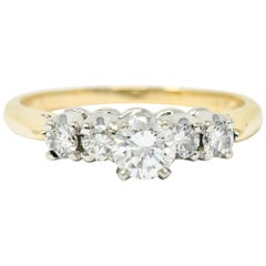 Vintage Diamond 14 Karat Gold Platinum Five-Stone Engagement Ring