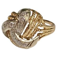Vintage Diamond 14 Karat Yellow and White Gold Dome Fashion Ring