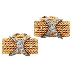 Vintage Diamond 14K Gold Elegant Rope Texture X Cufflinks